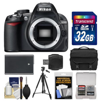 Nikon D3100 Digital SLR Camera Body - Factory Refurbished with 32GB Card + Battery + Case + Tripod + Accessory Kit