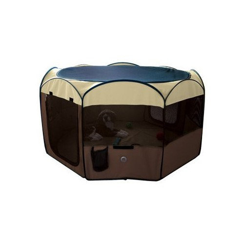 WARE Deluxe Pop-Up Playpen, Medium, Color:Brown