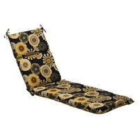 Pillow Perfect Outdoor Chaise Lounge Cushion - Black/Yellow Floral