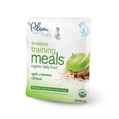 Plum Organics Baby Training Meals Apple Cinnamon Oatmeal, 4-Ounce Pouches (Pack of 12)