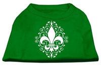 Ahi Henna Fleur de Lis Screen Print Shirt Emerald Green XL (16)