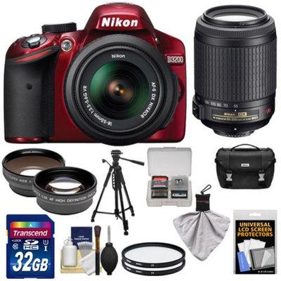 Nikon D3200 Digital SLR Camera & 18-55mm G VR DX AF-S Zoom Lens (Red) + 55-200mm VR Lens + 32GB Card + Case + Filters + Tripod + Telephoto & Wide-Angle Lens Kit