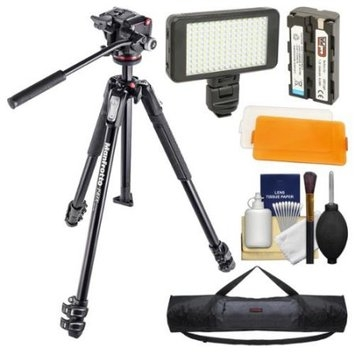 Manfrotto 190X 67 inch 3-Section Aluminum Video Tripod & MHXPRO-2W Fluid Head with Case + LED Light Set + Kit