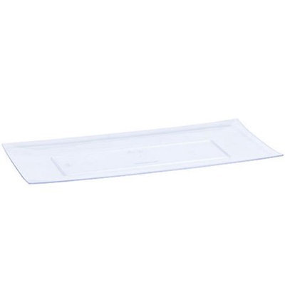 King Zak Ind Lillian Tablesettings 60290 Clear 13 in. X 6.25 in. Rectangular Plastic Condiment Tray - 25 Per Case