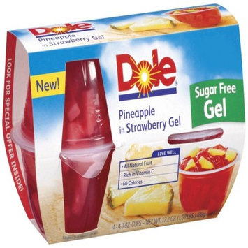 Dole Fruit Bowls Pineapple in Strawberry Fruit Bowls, 17.2 OZ (Pack of 6)