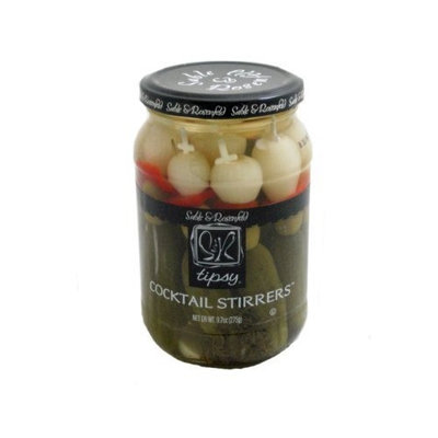 Sable & Rosenfeld, Tipsy Cocktail Garnish Stirrers of Gherkins, Onions, and Olives 9.7 Ounce Jar
