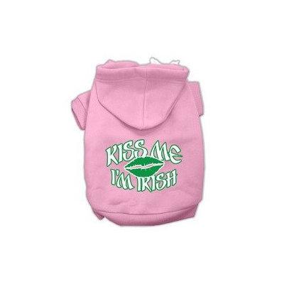 Mirage Pet Products Kiss Me I'm Irish Screen Print Pet Hoodies Light Pink Size XXXL (20)