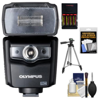 Olympus FL-600R Electronic Flash with Batteries & Charger + Tripod + Accessory Kit for Micro Four Thirds PEN E-PL1, E-PL2, E-PL3, E-PM1, E-P3 & OM-D E-M5 Digital Cameras