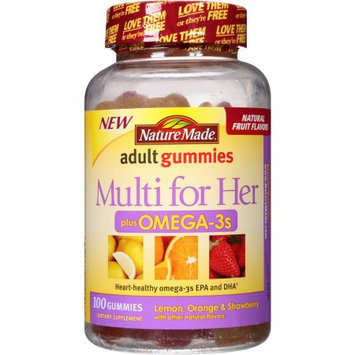 Nature Made Multi for Her Plus Omega-3s Adult Gummies Dietary Supplement, 100 count