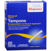 Walgreens Tampons with Cardboard Applicators, Unscented, Regular, 20 ea