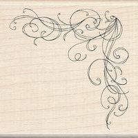 Rubber Stamp with Wood Handle - Corner Flourish