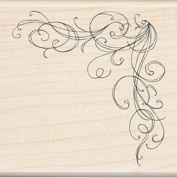 Rubber Stamp with Wood Handle - Corner Flourish