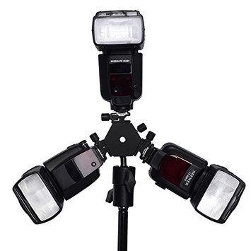 NEEWER Triple Hotshoe Mount Tilt Flash Bracket 3-Way with Umbrella Holder for Cameras