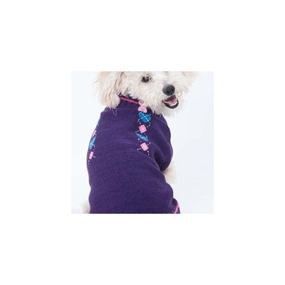 Fashion Pet Lookin Good Co-Ed Heart Sweater for Dogs, Small, Purple