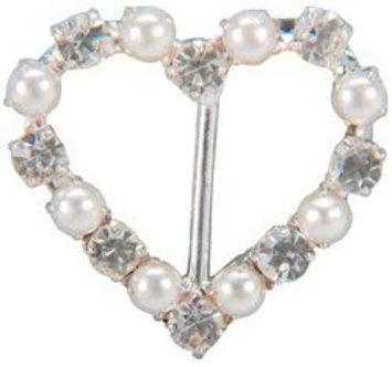 Vision Trims Genuine Rhinestone Buckle 38mm Heart-Silver/Pearl