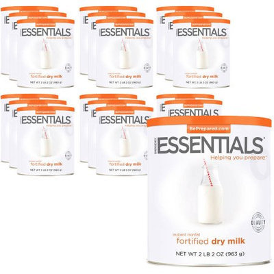 Emergency Essentials Food Instant Nonfat Fortified Dry Milk, 34 oz, 18 count