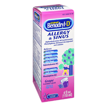 Benadryl-D Children's Allergy & Sinus Grape Flavored Liquid