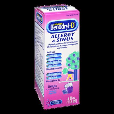 Benadryl-D Children's Allergy & Sinus Grape Flavored Liquid