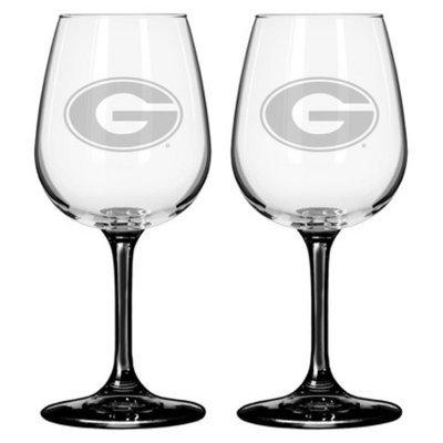 NCAA Georgia Bulldogs Boelter Brands 2 Pack Satin Etch Wine Glass - 12 oz