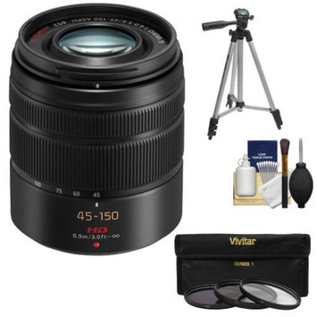 Panasonic Lumix G Vario 45-150mm f/4.0-5.6 OIS Lens (Black) with 3 (UV/CPL/ND8) Filters + Tripod + Accessory Kit for G5, G6, GF5, GF6, GH3, GH4, GM1, GX7 Cameras