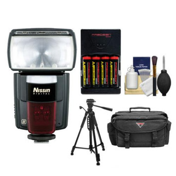 Nissin Speedlite Di866 Mark II Flash (i-TTL) with Batteries & Charger + Case + Tripod + Kit for Nikon D3100, D3200, D5100, D5200, D5300, D7000, D7100, D600, D800, D4 Digital SLR Cameras
