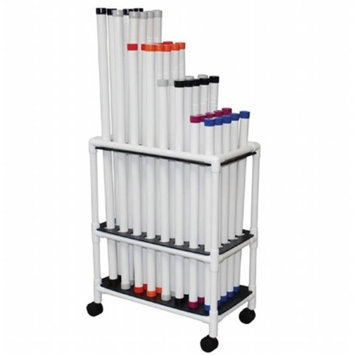 MJM International TRWB-40C Therapy Rehab Weighted Bars Mobile Storage Cart Holds 40 Bars