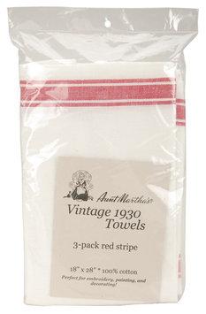 Aunt Martha's Striped Dish Towel, Red