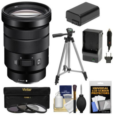 Sony Alpha E-Mount 18-105mm f/4.0 OSS PZ Zoom Lens with 3 Filters + Tripod + NP-FW50 Battery & Charger Kit for A7, A7R, A7S, A3000, A5000, A5100, A6000 Cameras