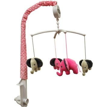 Bacati Elephants Musical Mobile, Pink/Gray