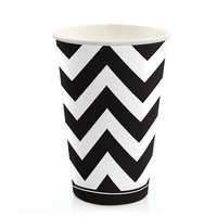 Big Dot Of Happiness Chevron Black and White - Hot & Cold Drinking Party Cups (8 count)