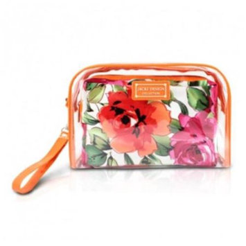 Jacki Design Tropicana Two Piece Cosmetic Bag Set with Wristlet Orange/White - Jacki Design Ladies Cosmetic Bags