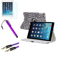 Insten INSTEN White/Purple Leopard 360 Leather Case Cover+Matte Protector+Cable For Apple iPad Air 5
