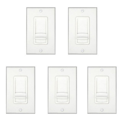 Theater Solutions 5 New White Wall Mount Impedance Matching Speaker Slide Volume Control Switches 5TSVCS(W)