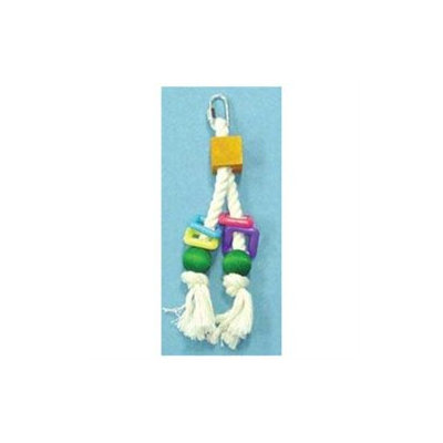 North American Pet BBO22162 Rope With Block- Beads And Plastic Squares Bird Toy