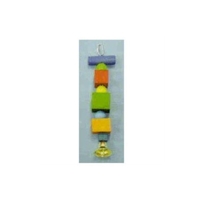 North American Pet BBO22337 Parrot Toy Dowel- Block- Beads And Bell