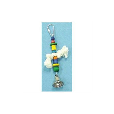Topdawg Pet Supply 7in TOY WOOD SPOOLS BEADS ROPE BONE BELL-90390