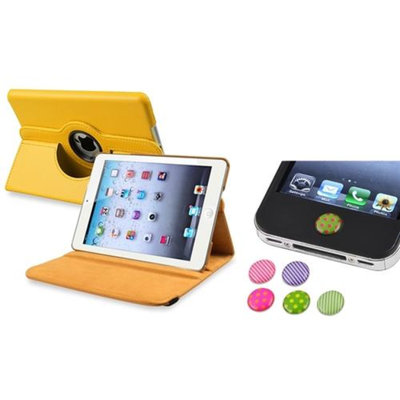 Insten iPad Mini 3/2/1 Case, by INSTEN Yellow 360 Leather Case Cover+Home Sticker for iPad Mini 3 2 1