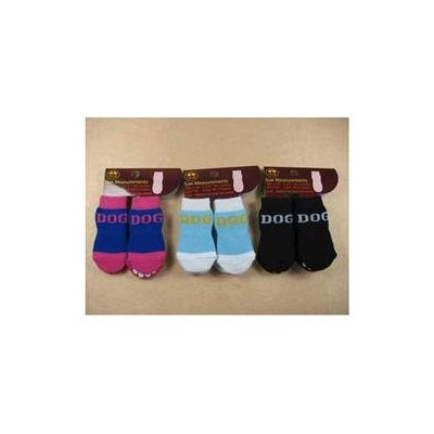 Pet Life Dog Socks with Rubber Sole Grips - Black/White: Large