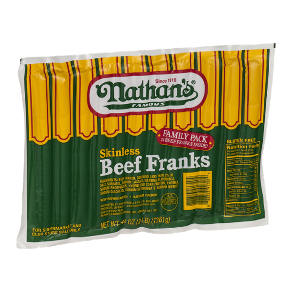 Nathan's Famous Skinless Beef Franks Family Pack - 24 CT