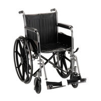 NOVA Medical Products Wheelchair with Fixed Arms and Swing Away Footrests In Hammertone, 18 Inches