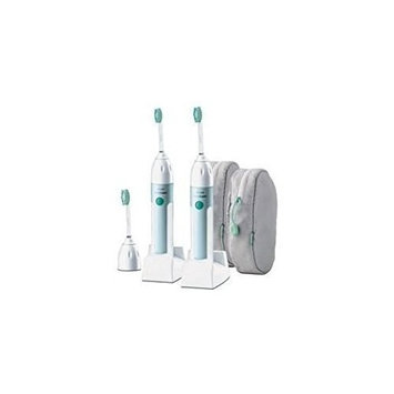 Philips Sonicare Elite HX5910 Power Toothbrush with Quadpacer ***Twin Pack*** (2 Handles, 3 Standard brush heads, 2 Charger bases, & 2 Travel cases) PREMIUM EDITION