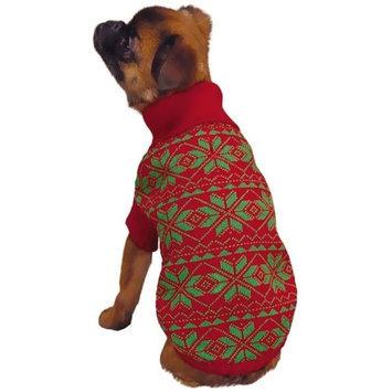 Pet Edge Dealer Services ESC Red Holiday Snowflake Dog Sweater Medium