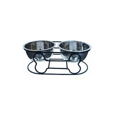 YML Wrought Iron Stand with Double Stainless Steel Bowls