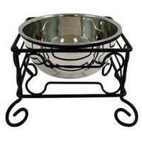 YML Wrought Iron Stand with Single Stainless Steel Bowl