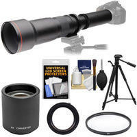 Vivitar 650-1300mm f/8-16 Telephoto Lens with 2x Teleconverter (=2600mm) + Tripod + Filter Kit for Canon EOS Rebel SL1, T3, T3i, T5, T5i, 70D, 6D, 7D 5D Mark II III Camera
