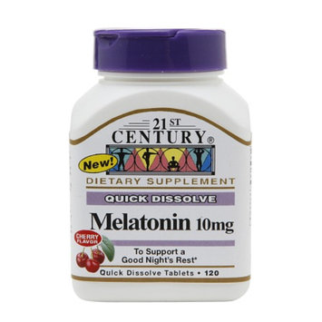 21st Century Quick Dissolve Melatonin 10mg, Tablets, Cherry, 120 tabs