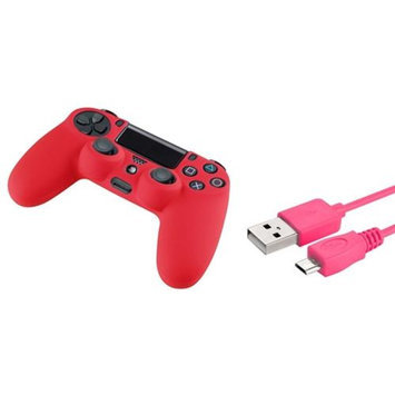 Insten INSTEN Hot Pink 6FT Micro USB Charger Cable+Red Skin Case for Sony PS4 controller