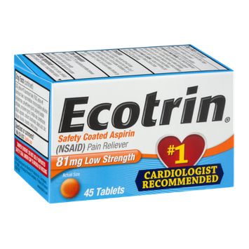 Ecotrin Safety Coated Aspirin Tablets Low Strength - 45 CT