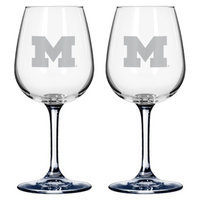 NCAA Michigan Wolverines Boelter Brands 2 Pack % Satin Etch Wine Glass -