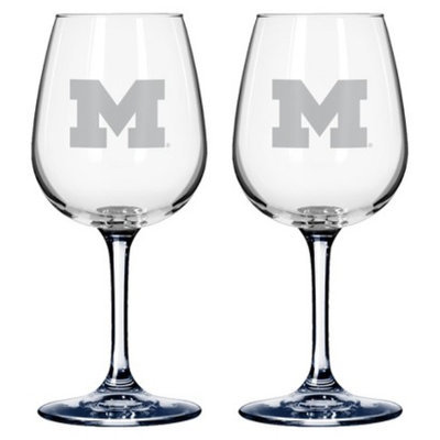 NCAA Michigan Wolverines Boelter Brands 2 Pack % Satin Etch Wine Glass -